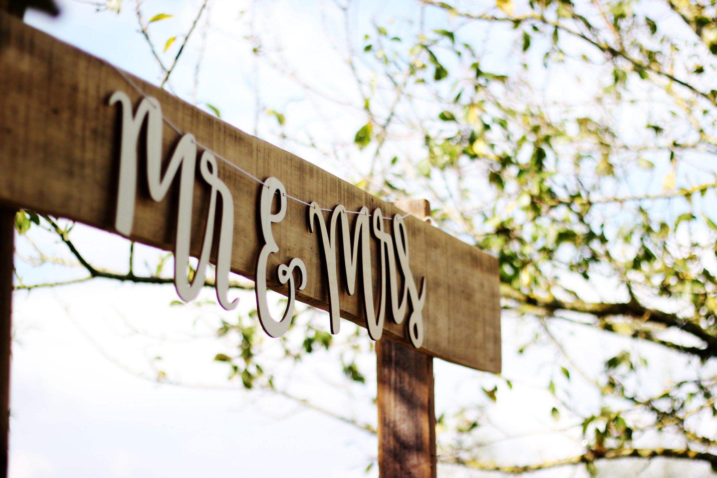 Wedding Venue Hire - Mr and Mrs sign
